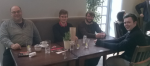 The speaker interns at a subsequent meal with the Head of School. From left to right, Steve Linton (HOS), Aleksejs Sazonovs, Robert Dixon, and Andrew McCallum (Emily Dick could not attend the meal).