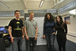 From left: Gergely, Jack, Iveta and Tatiana complete with winning poster.