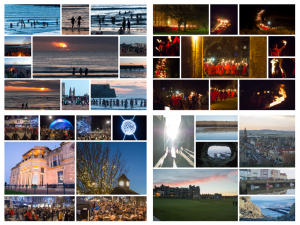Clockwise from top left: The May Dip, Torchlit procession, Christmas ceilidh, stunning St Andrews.