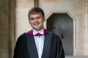 Aleksejs pictured at June Graduation