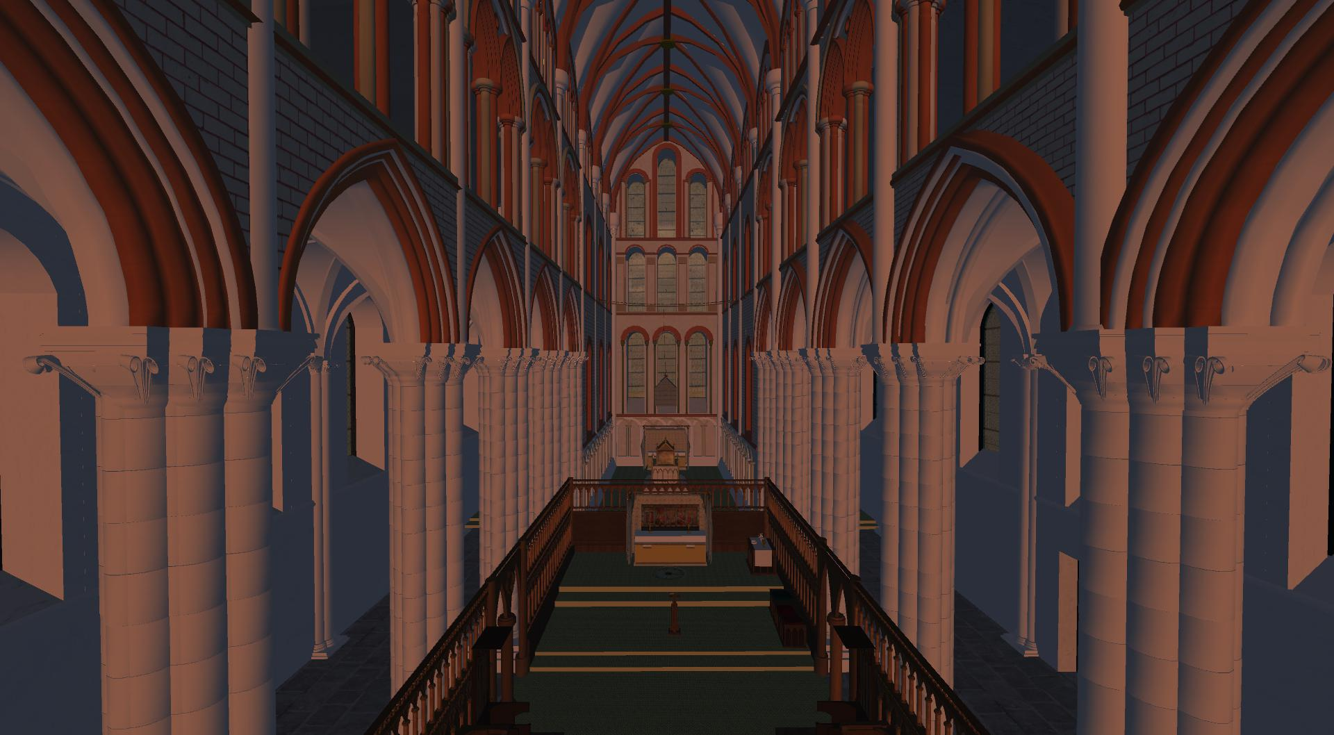 An inside image of our Virtual 3D model of St Andrews Cathedral looking East.