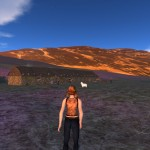 An avatar standing outside the principle longhouse in the Caen township.