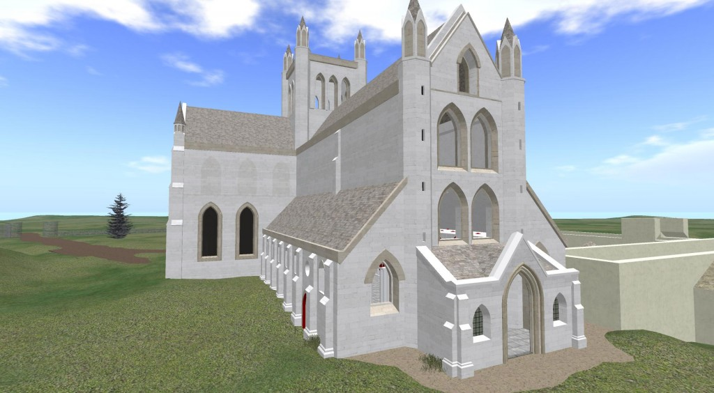 Draft virtual reconstruction of how it is believed the Abbey may have looked.