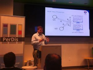 Aaron presenting at International Symposium on Pervasive Displays (photo courtesy Albrecht Schmidt)