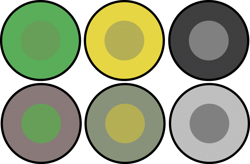 Examples of simulations contrast. The centres of each column have the same colour, but can appear different through the varying surround.
