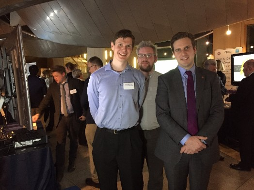 David Harris-Birtill (left) and David Morrison (centre) with Edinburgh South MSP Daniel Johnson (right), a St Andrews alumnus.